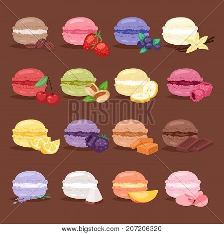 Macarons tasty cake set different colors macaroon s with fruit vector illustration. Dessert fruit macaroon and sweet cake traditional sweet macaroon biscuit dessert france delicious.
