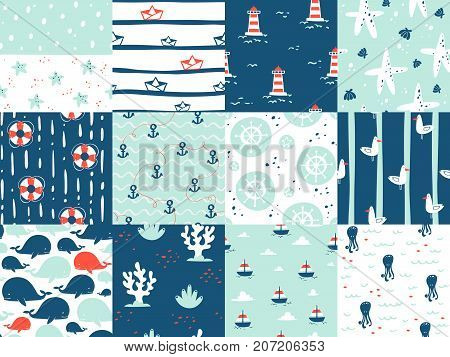Sea marine nautical ocean symbols seamless patterns elements. Ocean sea blue texture wallpaper marine seamless patterns. Water nautical element abstract marine seamless patterns.