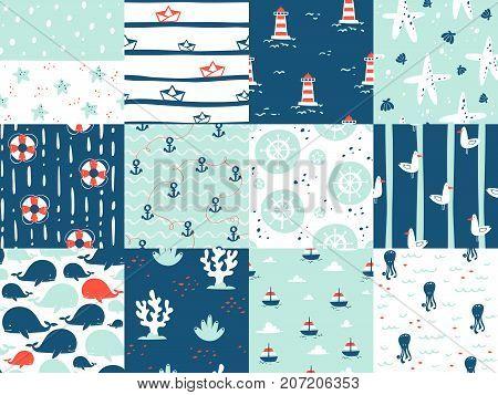 Sea marine nautical ocean symbols seamless patterns elements. Ocean sea blue texture wallpaper marine seamless patterns. Water nautical element abstract marine seamless patterns.