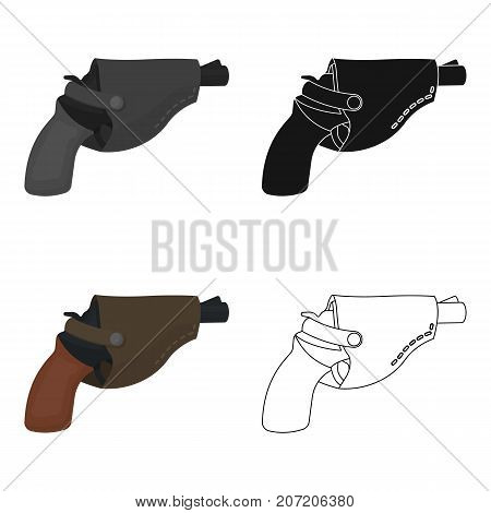 Pistol in the holster, firearms. Pistol detective single icon in cartoon style vector symbol stock illustration .