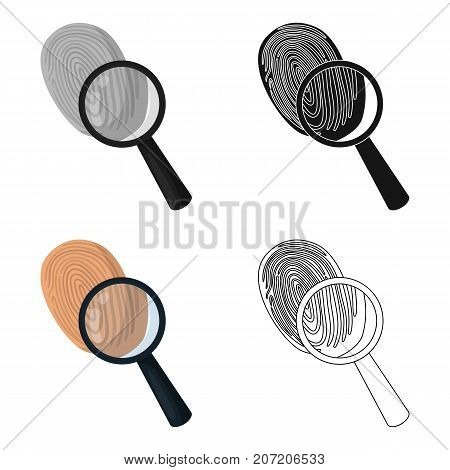 Investigation by fingerprint magnifier, crime. Loupe is a detective tool, single icon in cartoon style vector symbol stock illustration .