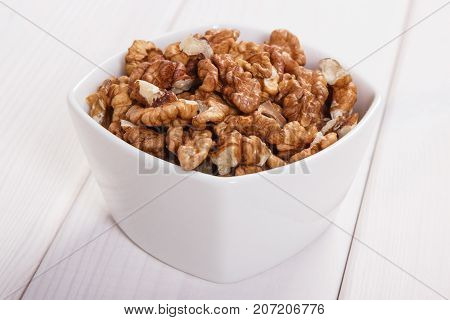 Heap Of Walnuts Containing Zinc And Dietary Fiber, Healthy Nutrition Concept
