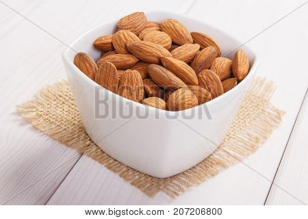 Heap Of Almonds Containing Zinc And Dietary Fiber, Healthy Nutrition