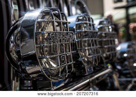 Vehicle design shiny detail headlamp daylight close up
