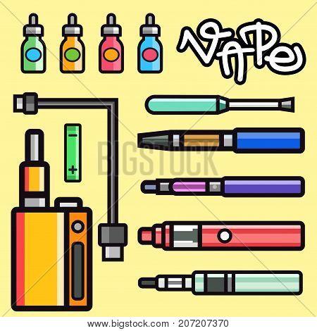 Vape device vector set cigarette vaporizer vapor juice vape bottle flavor illustration battery coil. Trend new culture electronic nicotine liquid. Smoking atomizer device e-liquid.