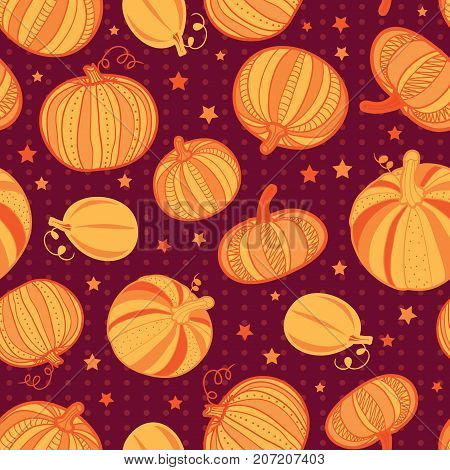 Vector orange dark red pumpkins polka dots seamless repeat pattern background. Great for fall themed designs, invitation, fabric, packaging projects. Surface pattern design.