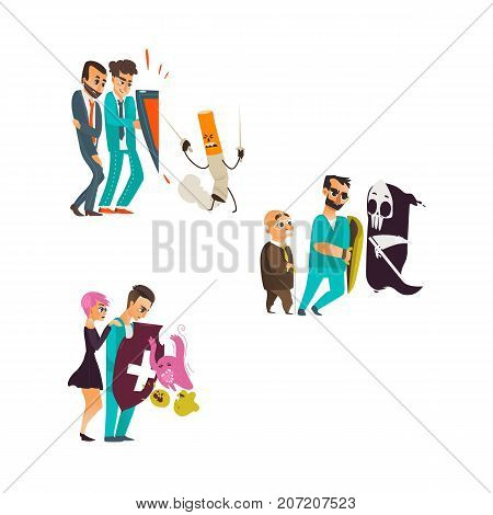 vector flat cartoon male doctor holding shield protecting patients from mental illness - germs, microbs death fear or phobia, nicotine addiction set. Isolated illustration on a white background