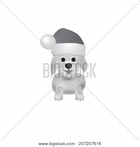 Illustration with dog. White-black background with nice dog. Funny cartoon character dog.