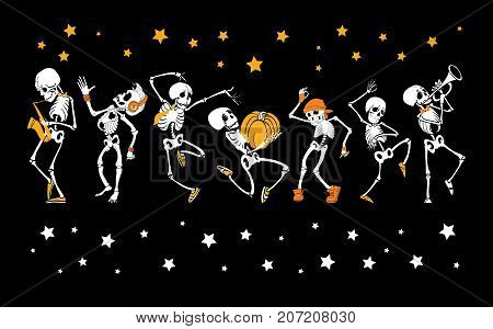 Vector dancing and musical skeletons Haloween set collection. Great for spooky fun party themed designs, gifts, packaging. Holiday elements.