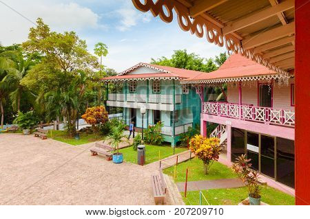 Panama City August 2016: In August tourists visit the Mi Pueblito Village Museum where the reconstruction of the historic buildings of the city and the Panama ethnicities are located to discover the customs and traditions of Panamanian culture
