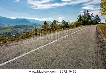 Countryside Road Through Mountains