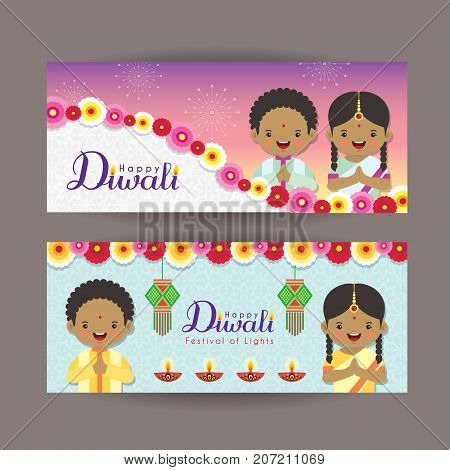Diwali or Deepavali banner template design.Cute cartoon India kids, india lantern and diya. Festival of Lights celebration vector illustration.