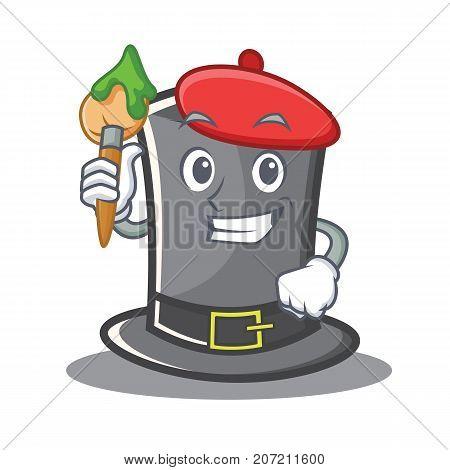 Artist Thanksgiving hat character cartoon vector illustration
