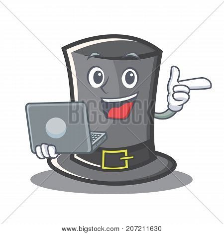 With laptop Thanksgiving hat character cartoon vector illustration
