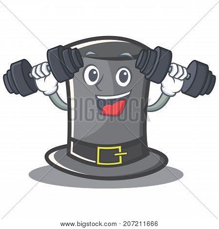 Fitness Thanksgiving hat character cartoon vector illustration