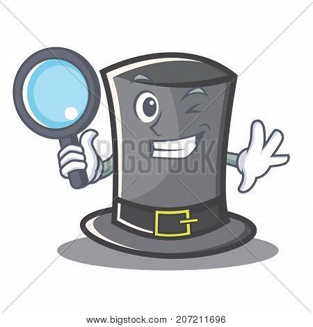 Detective Thanksgiving hat character cartoon vector illustration