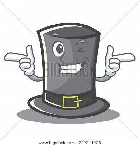 Wink Thanksgiving hat character cartoon vector illustration