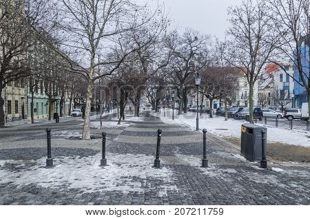 Winter day with low temperatures on the main boulevard of the Slovak city of Bratislava.