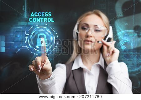 Young Businesswoman Working In Virtual Glasses, Select The Icon Access Control On The Virtual Displa