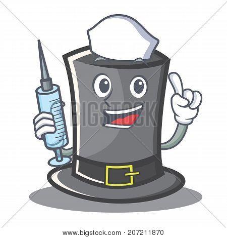 Nurse Thanksgiving hat character cartoon vector illustration