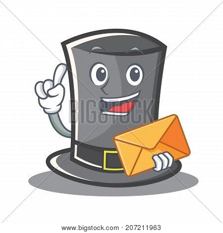 With envelope Thanksgiving hat character cartoon vector illustration