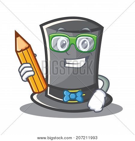 Student with pencil Thanksgiving hat character cartoon vector illustration