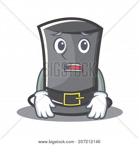 Afraid Thanksgiving hat character cartoon vector illustration
