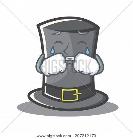 Crying Thanksgiving hat character cartoon vector illustration