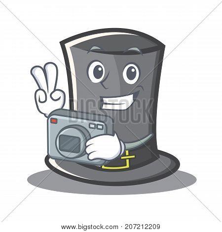 Photography Thanksgiving hat character cartoon vector illustration