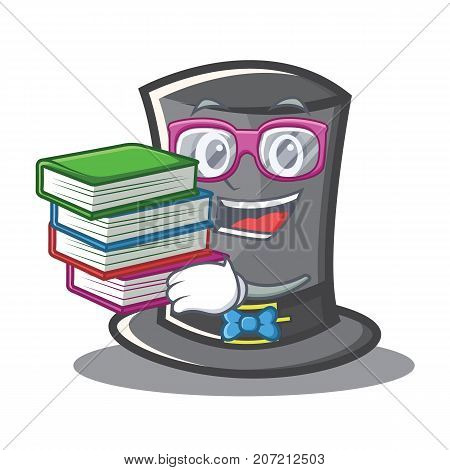 Student with book Thanksgiving hat character cartoon vector illustration
