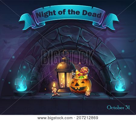 Vector Halloween cartoon illustration Night of the dead. Background image to create original video or web games graphic design screen savers.