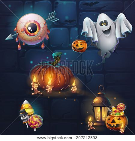 Set of different items for game user interface. Vector background cartoon illustration to the computer game for theme Halloween. Background image to create original video or web games graphic design