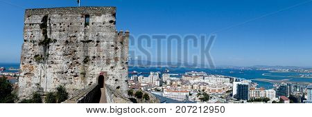 Panorama of Gibraltar with Moorish Castle in foreground
