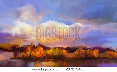 Abstract oil painting landscape. Colorful yellow purple sky. Oil painting outdoor landscape on canvas. Semi- abstract tree hill and field meadow. Sunset fall season landscape nature background