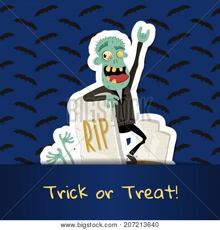 Trick or treat poster with happy zombie in business suit near rip gravestone. Halloween event advertising with funny undead, festive carnival poster. Walking dead man character vector illustration