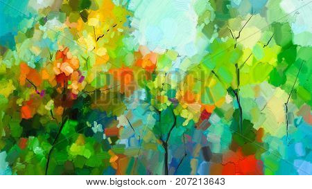Abstract colorful oil painting landscape on canvas. Semi- abstract of tree in forest. Green and red leaves with blue sky. Spring summer season nature background. Hand painted Impressionist style