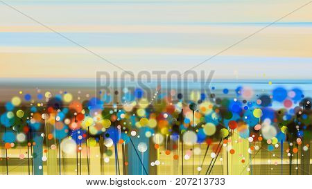 Abstract floral oil color painting. Semi abstract image of wildflower and field. Yellow and red wild flowers at meadow with sky. Spring summer season nature background.