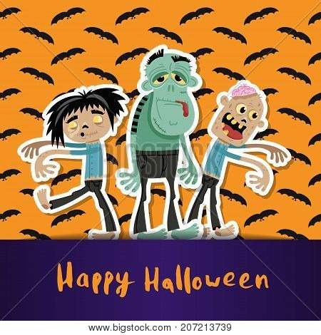 Happy Halloween poster with cute zombies. Halloween event advertising with funny undead, festive horror carnival poster. Walking dead characters vector illustration in cartoon style