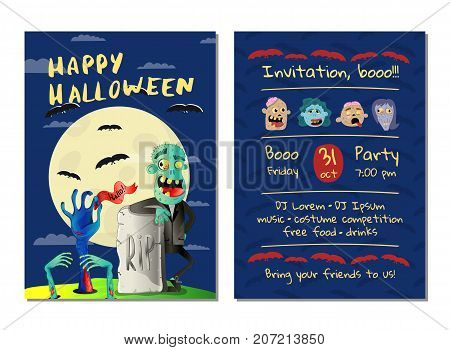 Halloween party invitation with happy zombie in business suit near rip gravestone. Halloween event advertising with funny undead, festive carnival poster. Walking dead in cemetery vector illustration