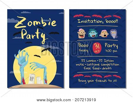 Zombie party invitation with monster hands in graveyard at full moon. Halloween event advertising with funny undeads, festive cute carnival poster. Walking dead in cemetery vector illustration.