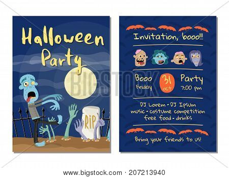Zombie party invitation with walking dead man in graveyard at full moon. Halloween event advertising with funny undeads, festive carnival poster. Zombie character in cemetery vector illustration
