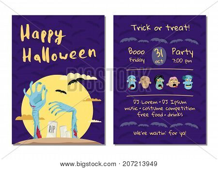 Halloween party invitation with monster hands in graveyard at full moon. Halloween event advertising with funny undeads, festive cute carnival poster. Walking dead in cemetery vector illustration.
