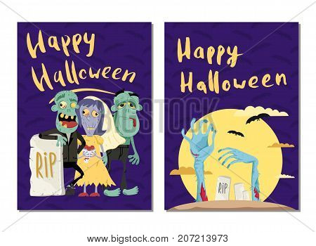 Happy Halloween party cards with cute zombies in graveyard. Halloween event advertising with scary undeads, festive funny carnival poster. Walking dead characters in cemetery vector illustration.
