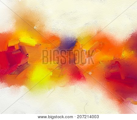Abstract colorful oil painting on canvas texture. Hand drawn brush stroke oil color paintings background. Modern art oil paintings with yellow red color. Abstract contemporary art for background