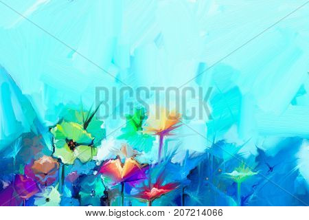 Abstract colorful oil painting on canvas. Semi- abstract image of flowers in yellow and red with blue color. Hand drawn brush stroke oil color paintings. Modern art oil paintings for background