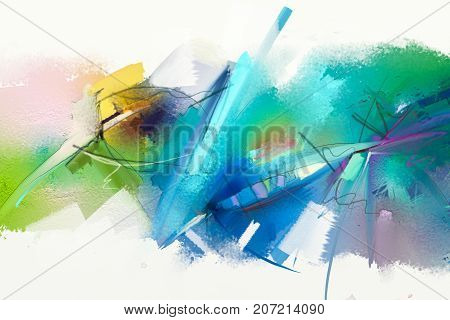 Abstract colorful oil painting on canvas texture. Hand drawn brush stroke oil color paintings background. Modern art oil paintings with green blue color. Abstract contemporary art for background