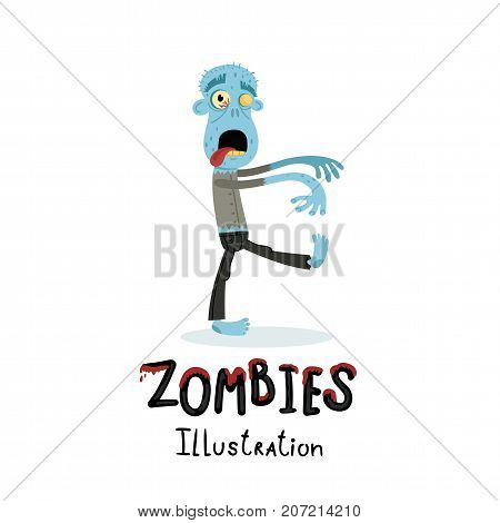 Funny blue zombie character in cartoon style. Halloween undead banner, horror monster personage, zombie apocalypse concept, cute man isolated on white background vector illustration.