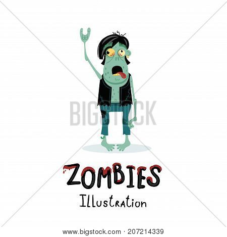 Punk rocker zombie character with rock hand gesture in cartoon style. Halloween undead banner, horror monster personage, zombie apocalypse concept, cute walking dead man isolated vector illustration.