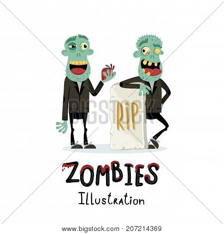 Couple zombie man near rip gravestone in cartoon style. Halloween undead banner, horror monster personage, zombie apocalypse concept, cute walking dead isolated on white background vector illustration
