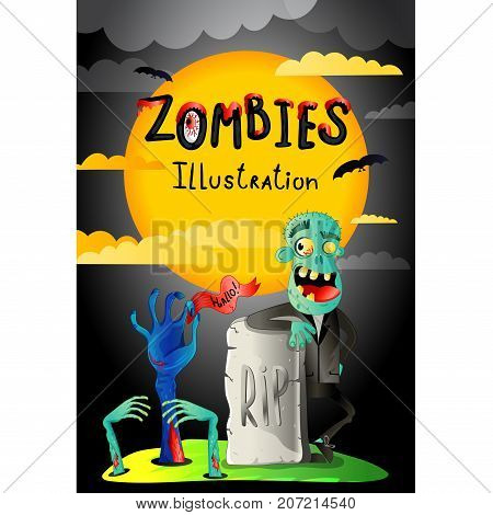 Halloween party banner with zombie in cemetery. Funny undead banner, horror monster near rip gravestone, zombie apocalypse concept, cute walking dead vector illustration in cartoon style